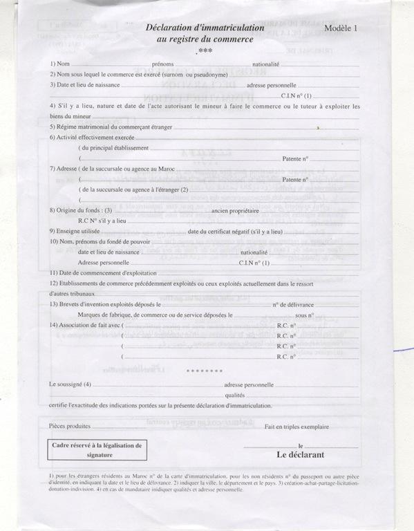 01 d claration d 39 immatriculation au registre du commerce - Immatriculation chambre de commerce ...