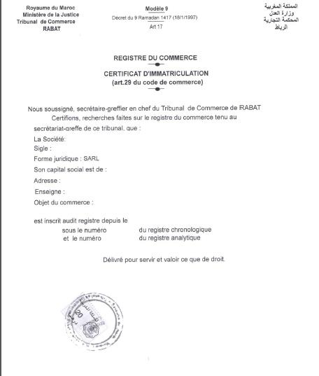Extrait du registre du commerce - Immatriculation chambre de commerce ...
