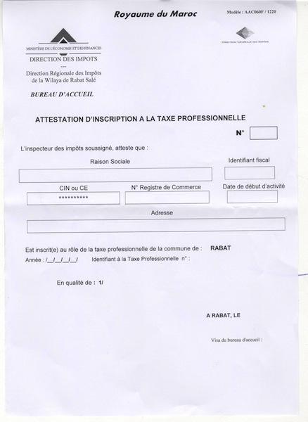 01 Attestation D Inscription 224 La Taxe Professionnelle